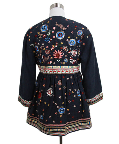 Alice + Olivia blue red linen embroidery beaded jacket 1