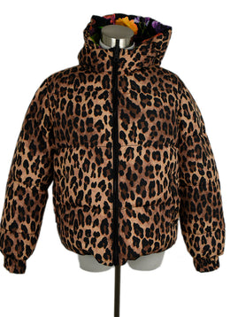 Alice + Olivia Reversible Leopard Print Floral Print Nylon Down Puffer Outerwear 1