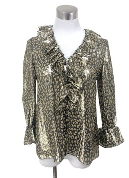 Alice + Olivia Metallic Gold Print Top sz 2