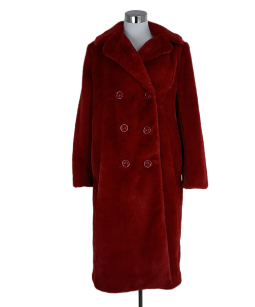 Alice + Olivia Size 8 Red Faux Fur Coat Outerwear 1