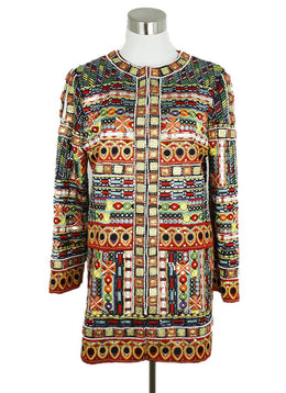 Alice + Olivia Red Yellow Purple Embroidery Beaded Coat 1