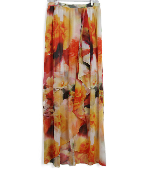 Alice + Olivia yellow orange print long skirt 1
