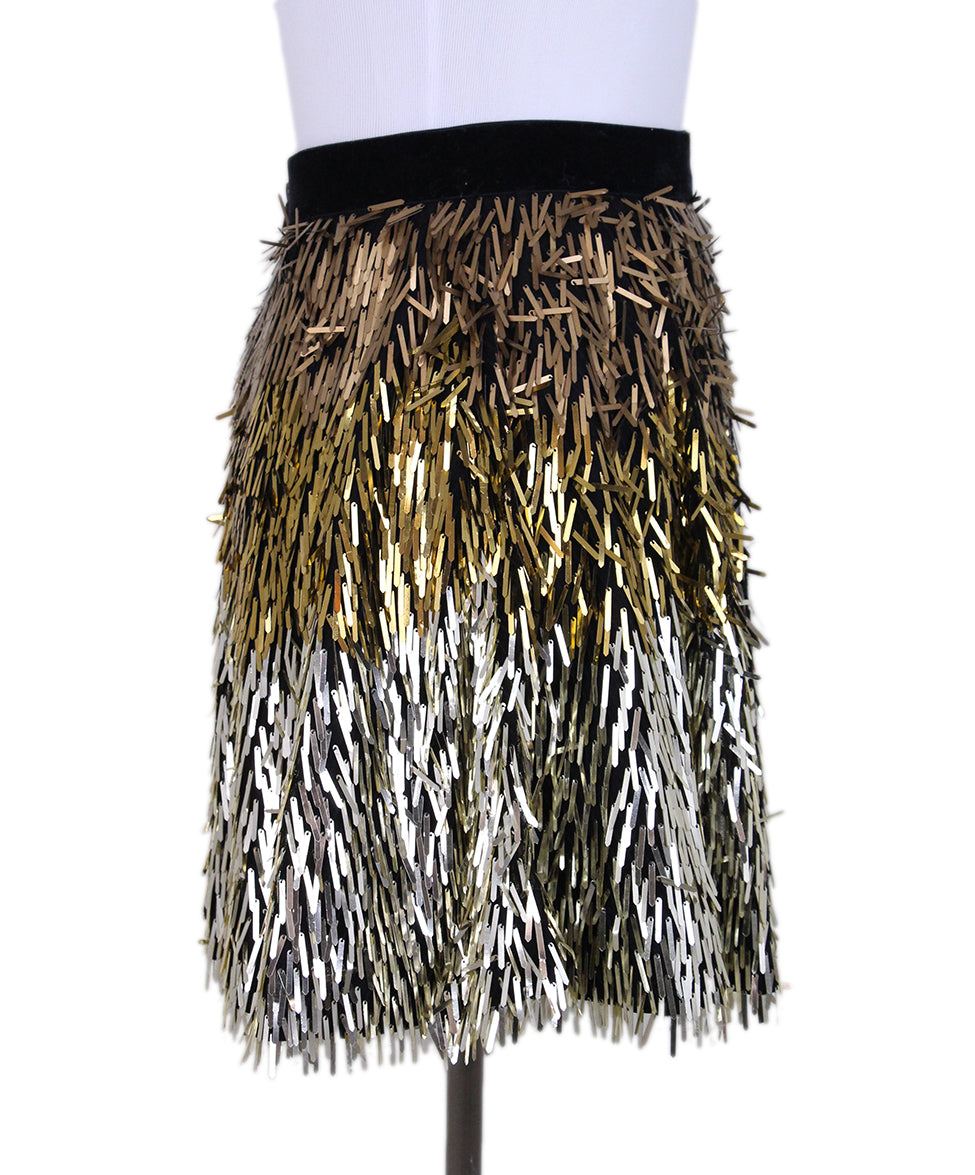 Alice + Olivie Fringe Sequin Gold Mini Skirt 2