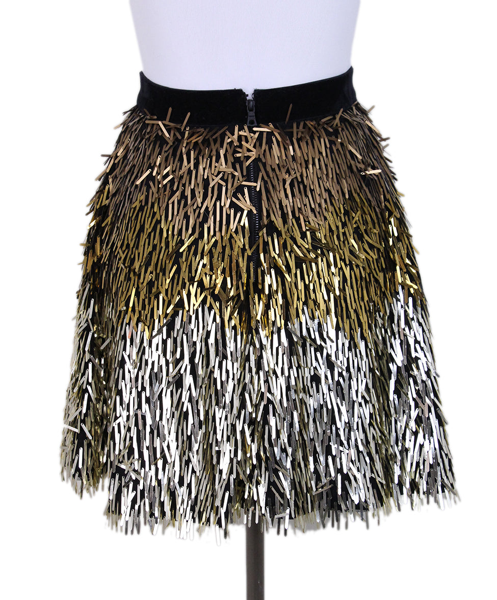 Alice + Olivie Fringe Sequin Gold Mini Skirt 3