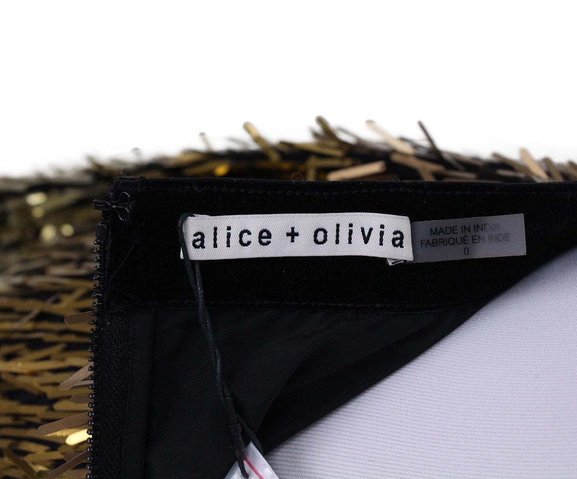 Alice + Olivie Fringe Sequin Gold Mini Skirt 4