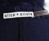 Alice + Olivia Navy Acrylic Fox Trim Shawl Sweater 4