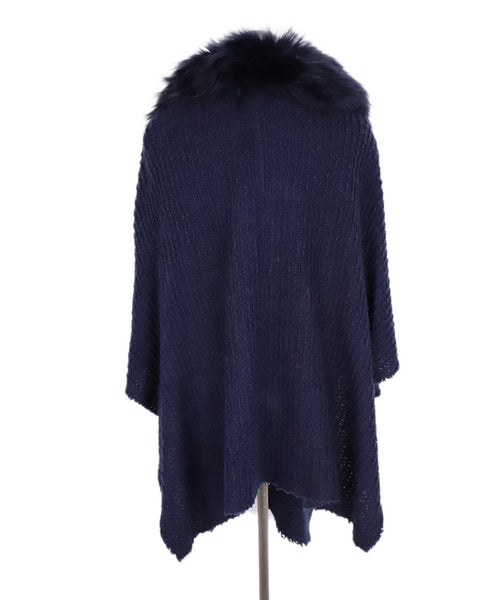 Alice + Olivia Navy Acrylic Fox Trim Shawl Sweater 3