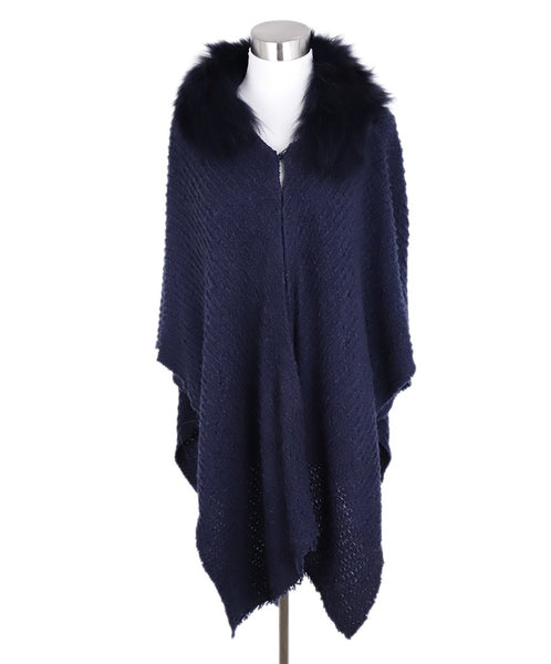 Alice + Olivia Navy Acrylic Fox Trim Shawl Sweater 1