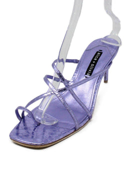 Alice + Olivia Purple Metallic Leather Strappy Heels 1