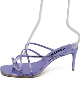 Alice + Olivia Purple Metallic Leather Strappy Heels 2