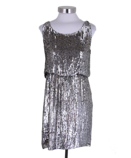 Alice + olivia silver sequin dress 1