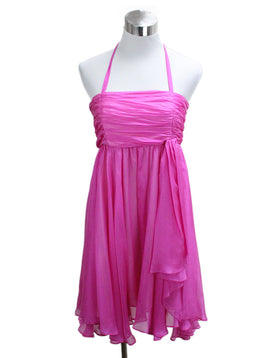 Alice + Olivia Pink Fuchsia Silk Chiffon Dress