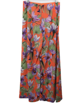 Alice + Olivia Orange Pants with Purple and Green Floral Print 2