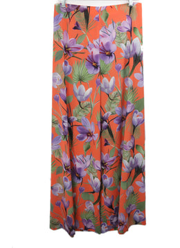 Alice + Olivia Orange Pants with Purple and Green Floral Print 1