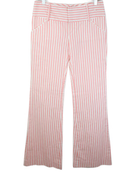 Alice + Olivia White and Pink Stripes Cotton Pants 1