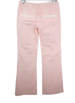 Alice + Olivia White and Pink Stripes Cotton Pants 2