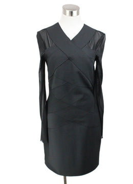 AllSaints Black Polyamide Spandex Sheer Longsleeve Dress 1