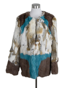 Alphamoment Neutral Ivory Aqua Rabbit Fur Jacket 1