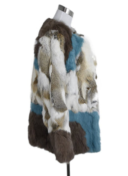 Alphamoment Neutral Ivory Aqua Rabbit Fur Jacket 2