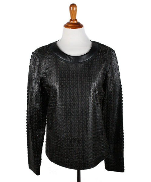 Altuzarra Black Cutwork Leather Top Sz 42 - Michael's Consignment NYC  - 1