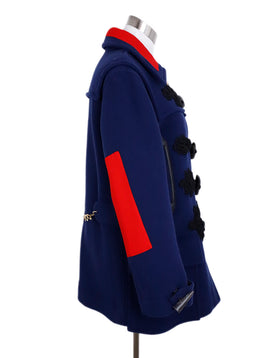 Altuzarra Blue Navy Wool Red Trim Toggle Button Coat 2