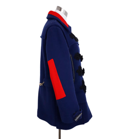 Altuzarra Blue Navy Wool Red Trim Toggle Button Coat 1