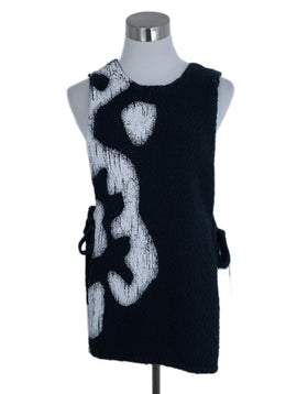 Altuzarra Black Cotton White Print Top 1