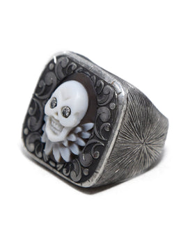 Amedeo Sterling Silver Cameo Skull Diamonds Jewelry Ring 2