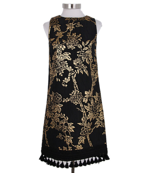 Andrew Gn Black Gold Brocade Dress 1