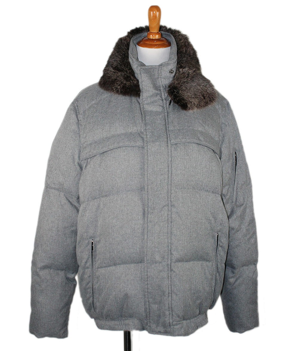 Andrew Marc 10 Grey Wool Down Lining Fur Collar OUTERWEAR