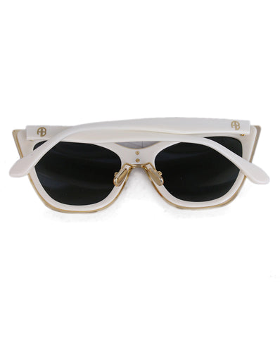 Anine Bing Cream Plastic Sunglasses 1