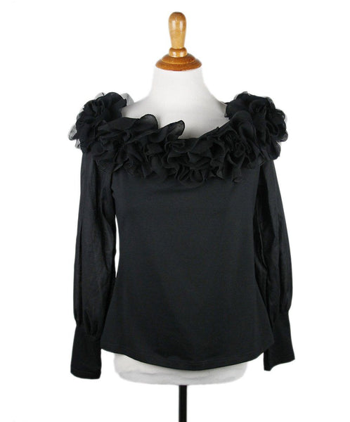 Anne Fontaine Black Cotton Mesh Ruffle Trim Top Sz 42