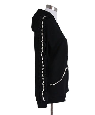 Anne Fontaine Black Cotton Pearl Trim Cardigan 1