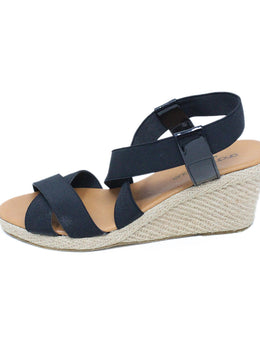Anne Fontaine Black Elastic Wedge Espadrilles 2