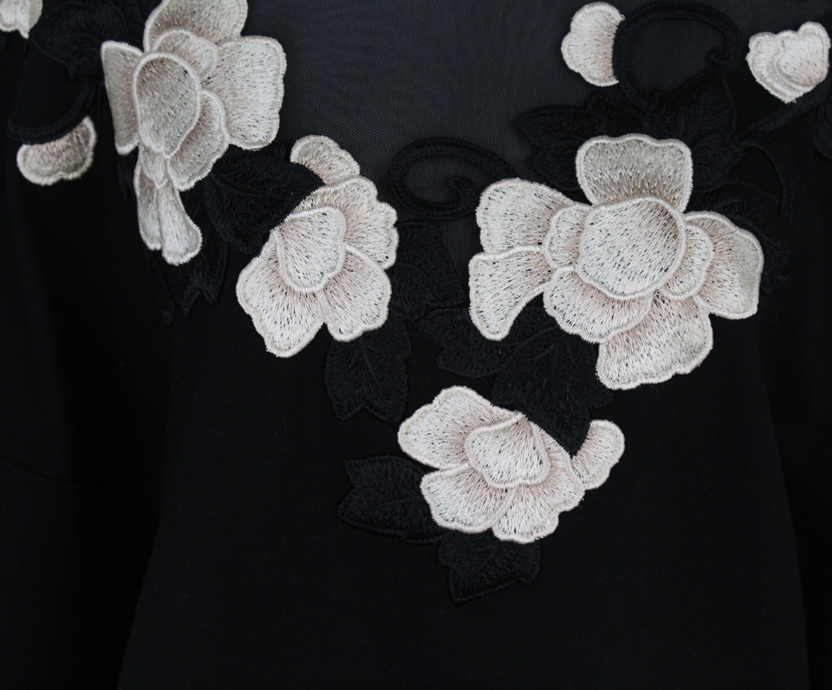 Anne Fontaine Black Floral Appliques sweater 5