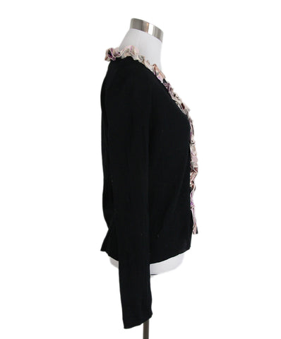 Anne Fontaine Black Pink Ruffle Cardigan 1