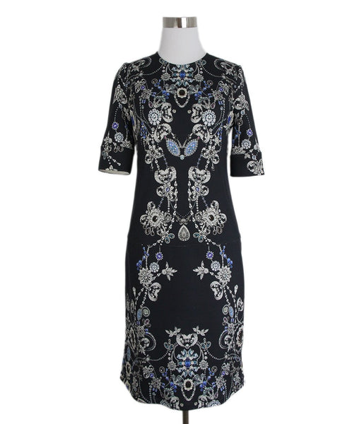 Anne Fontaine Blue white black print dress 1