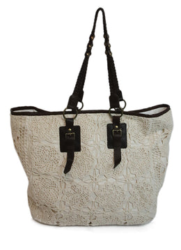 Anne Fontaine Ivory Cotton Crochet Detail Large Tote Bag 1