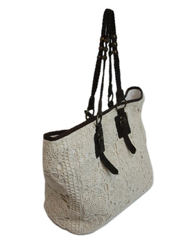 Anne Fontaine Ivory Cotton Crochet Detail Large Tote Bag 2