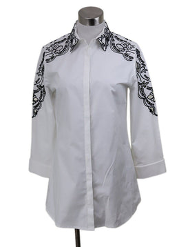 Anne Fontaine White Black Trim Cotton Top