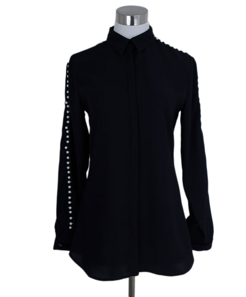Anne Fontaine Black Polyester Pearl Detail Top Blouse 1