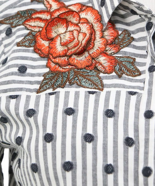 Anne Fontaine Black White Stripes Cotton Floral Top 4