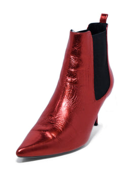 Annie Bing US 8 Red Metallic Leather Booties 1