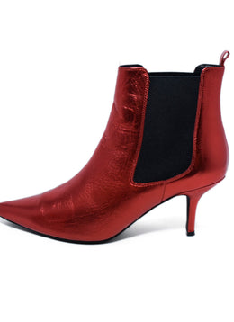 Annie Bing US 8 Red Metallic Leather Booties 2