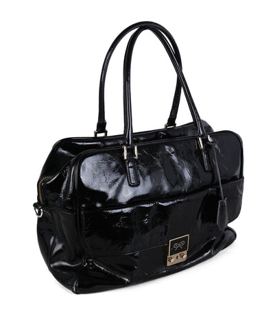Anya Hindmarch Black Patent Leather Satchel 1