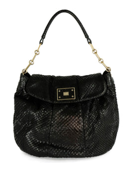 Anya Hindmarch Black Snake Skin Gold Hardware Hobo Handbag 1
