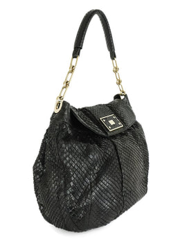 Anya Hindmarch Black Snake Skin Gold Hardware Hobo Handbag 2
