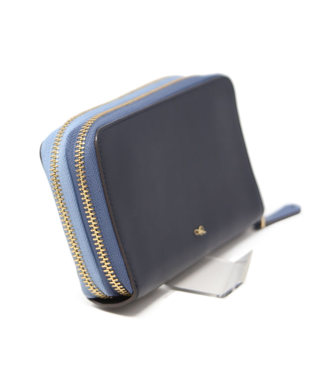 Anya Hindmarch Light Blue Navy Leather Wallet 2