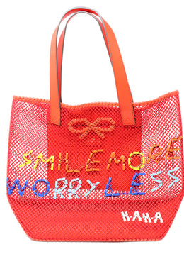 Anya Hindmarch Red Leather Canvas Open Weave Shoulderbag 1