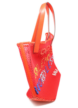 Anya Hindmarch Red Leather Canvas Open Weave Shoulderbag 2